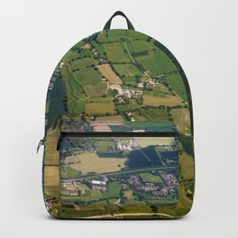 aerial view fields british countryside map pattern Backpack