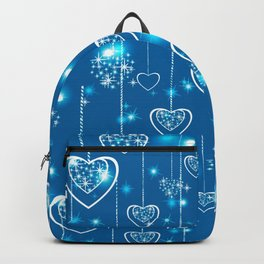 Bright openwork hearts on a light blue background. Backpack