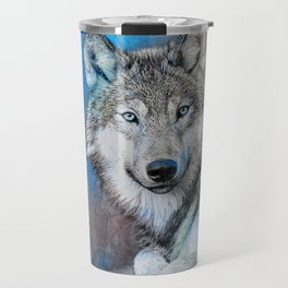 Blue Wolf Wildlife Mixed Media Art Travel Mug