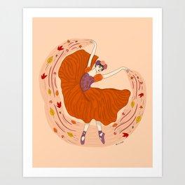 Autumn Ballerina -Fall seasons- nature illustration Art Print