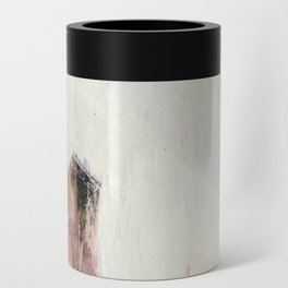 Sunrise [2]: a bright, colorful abstract piece in pink, gold, black,and white Can Cooler