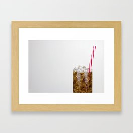 Fizzy Drink With Ice Against a White Background Framed Art Print