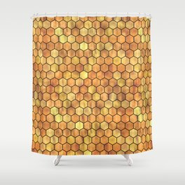Golden Honeycomb Pattern Shower Curtain
