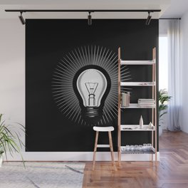 Inspiration idea bulb black and white Wall Mural