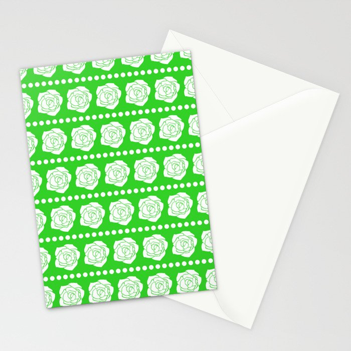 Simple White Roses - Green BG Stationery Cards