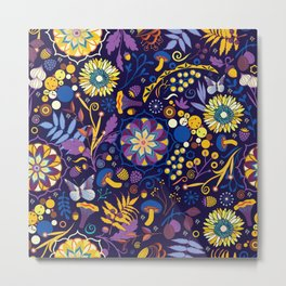 Ripe autumn – purple and yellow Metal Print
