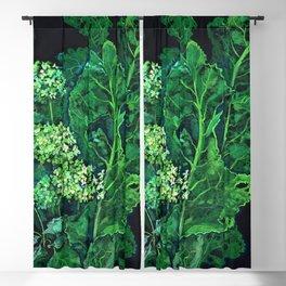 Hydrangea and Horseradish, Floral Art Pastel Painting Black Green Blackout Curtain