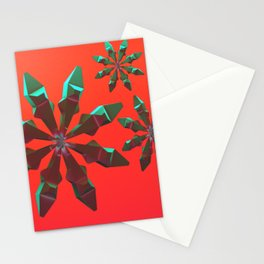 Snowflakes (green and red) Stationery Cards