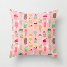 Ice Cream summer fresh food vacation heatwave city life pattern print geometric triangle design Throw Pillow