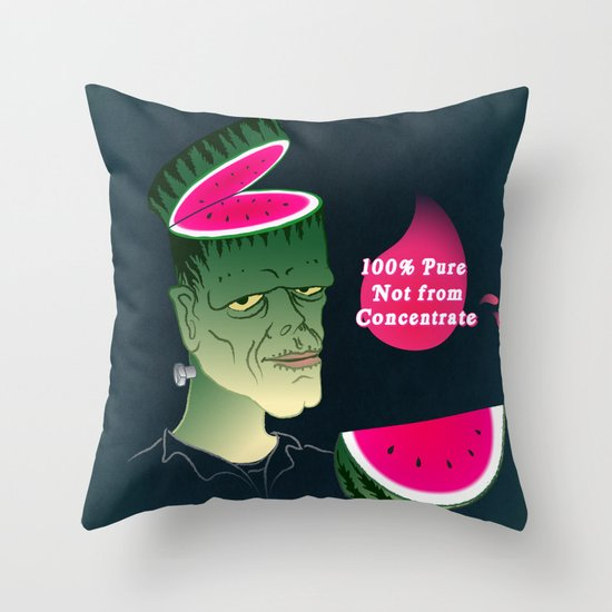 Frankenmelon 100% pure, not from concentrate! Throw Pillow