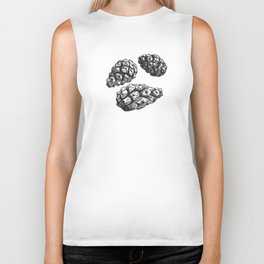 seamless pattern with Pine cones and frosty patterns. Brown and blue. Sketch. vector Biker Tank
