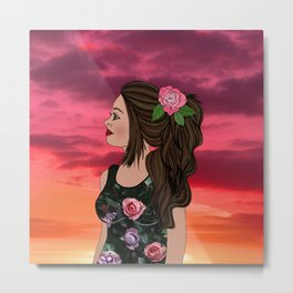 Rosa and Her Mexican Sunset Metal Print
