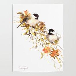 Chickadee bird art, design, chickadees artwork Poster