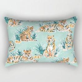 LAZY TIGERS Watercolor Cats Rectangular Pillow