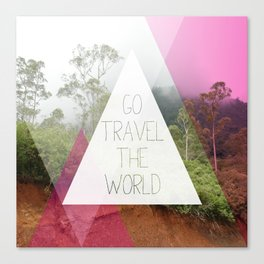 Travel the world Indonesia photography smokey mountain and typography print Canvas Print
