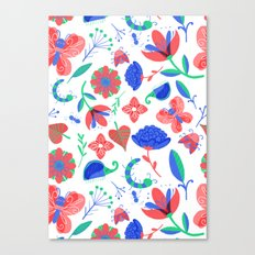 Little flowers and friends Canvas Print