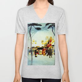 Japanese Covered Litter and Lanterns Unisex V-Neck