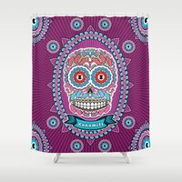 mexican Shower Curtains featuring Mexican Skull by Xonomitl