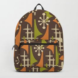 Mid Century Modern Atomic Wing Composition 235 Brown Orange and Charteuse Backpack