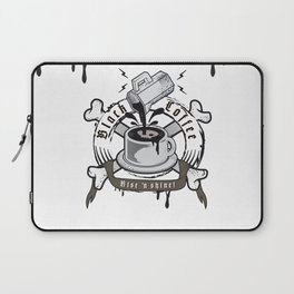 black coffee 'rise and shine' Laptop Sleeve