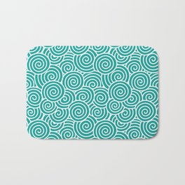 Chinese Spirals Pattern | Abstract Waves | Swirl Patterns | Circles and Swirls | Teal and White | Bath Mat