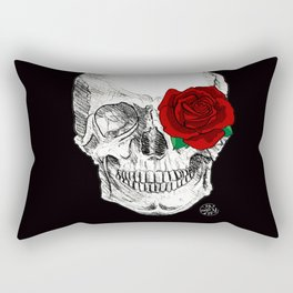 Rose Skull Black Rectangular Pillow