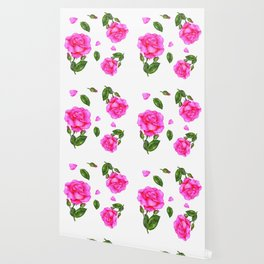 Shabby Chic Vintage Pink Rose Wallpaper