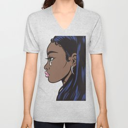 Crying Comic Black Girl Unisex V-Neck