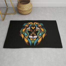 African Lion Head Rug
