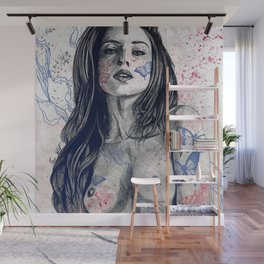 Nothing Violates This Nature: Blue (erotic drawing, nude butterfly girl) Wall Mural
