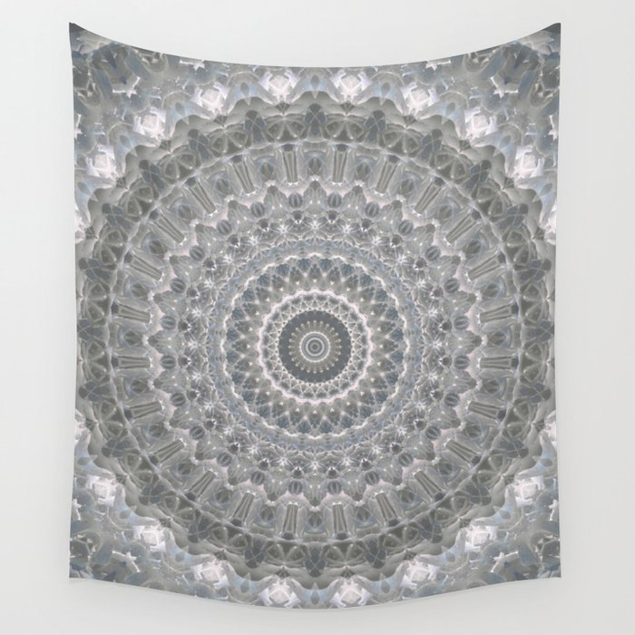 Mandala In White Grey And Silver Tones Wall Tapestry By