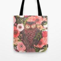 oana befort Tote Bags featuring SLEEPY OWL by Oana Befort