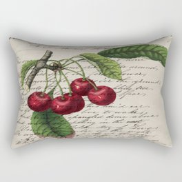 shabby elegance french country botanical illustration vintage red cherry Rectangular Pillow
