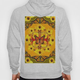 YELLOW SUNFLOWERS & MONARCH BUTTERFLIES Hoody
