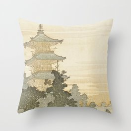 Japanese Pagoda and Rainbow - Vintage Japanese Woodblock Print Throw Pillow