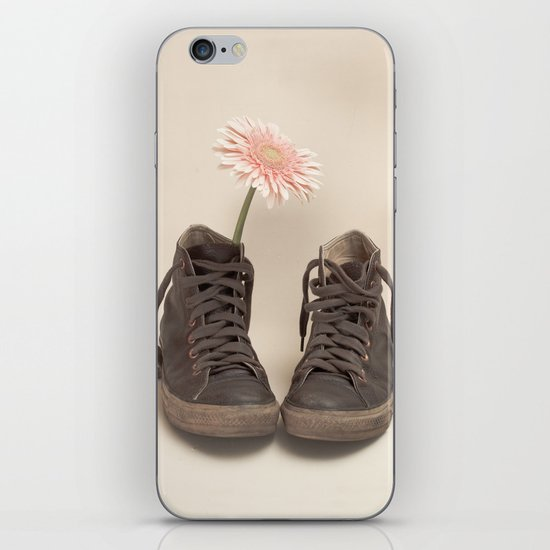 Brown Converse Boots and Pink Flower (Retro Still Life Photography)  iPhone & iPod Skin