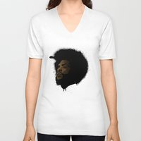 tupac V-neck T-shirts featuring Questlove 2.0 by The Art Warriors