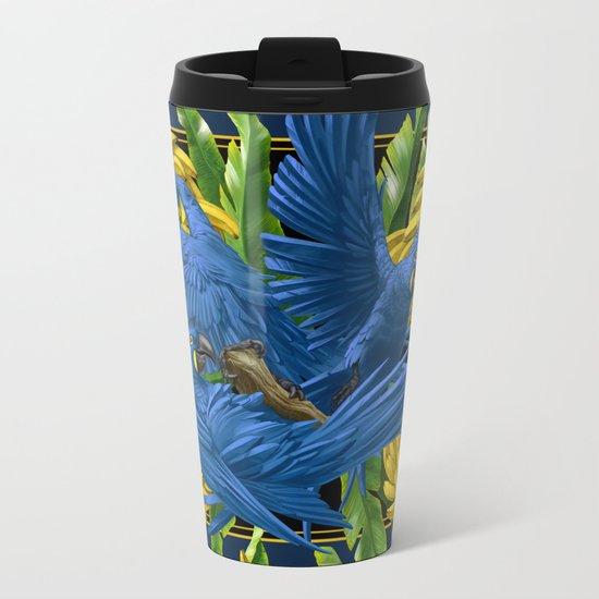 Hyacinth Macaws and bananas Stravaganza (black background). Metal Travel Mug