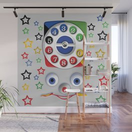 Classic Retro vintage Smiley Toys Dial Phone Wall Mural