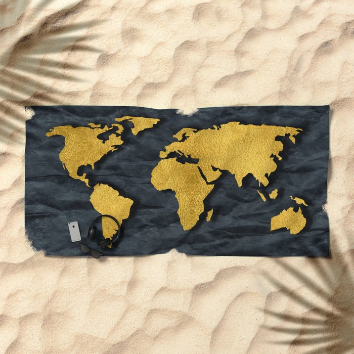 Metallic Gold Leaf Map on paper Beach Towel