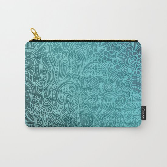 Detailed zentangle square, blue colorway Carry-All Pouch
