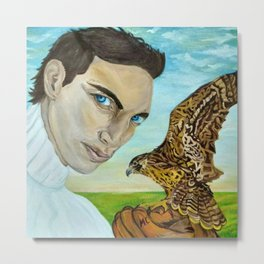 """""""Peale's (Peregrine) Falcon and the Portrait of a Man"""". Metal Print"""
