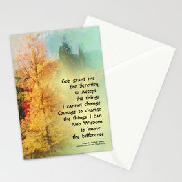 Serenity Prayer Autumn Trees on Green Stationery Cards