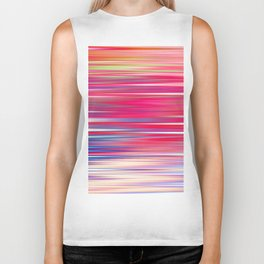 pink abstract with horizontal stripes Biker Tank