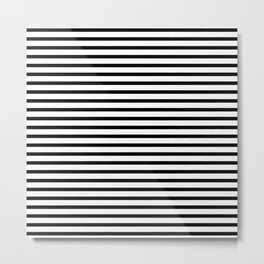 Black And White Stripes Breton Nautical Minimalist Metal Print
