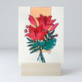 red flower bouquet Mini Art Print