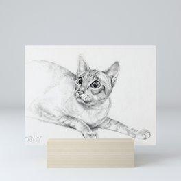 Siamese Cat Hunting Pencil drawing Pet illustration Decor for cat lover Mini Art Print