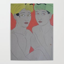 1940 Paul Jacoulet Japanese Woodblock Print Les Enfants aux Yeux Jaunes Ohlol Poster