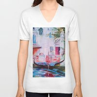 venice V-neck T-shirts featuring Venice by OLHADARCHUK