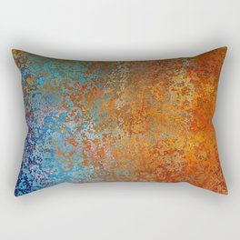 Vintage Rust, Copper and Blue Rectangular Pillow